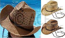 Womens Straw Summer Hats Dance Ladies Wide Brim Natural Cowboy Hat