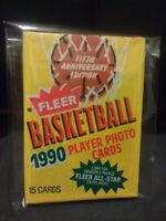1990 Fleer Unopened Wax Pack NBA Basketball jordan card?bird?magic?
