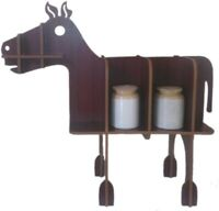 Vintage Wooden Horse Rack Cutlery Standing Display Home Decor Folding 3D puzzle