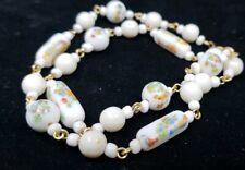 Vintage White Glass Millefiori Canes Necklace