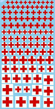 Red Cross Red Crosses Croix Rouges Decals 0 1/4-0 23/32in 1:24 Decal