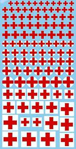 Rouge Croix Rouges Décalcos 6-18 MM 1:43 Autocollant Décalcomanie