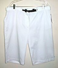 NWT Ladies 18 Bright White Stretch Cotton Quality Belted Casual Long Shorts $34