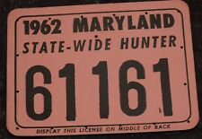 MARYLAND STATE WIDE HUNTING LICENSE 1962