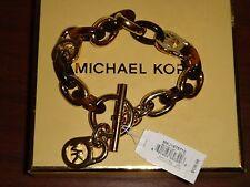 MICHAEL KORS Womens Gold Tortoise Toggle Chain Bracelet~Charm~MKJ1675710~No Box