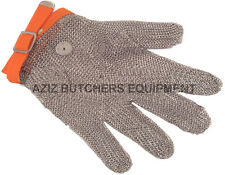 5 Finger Chainmail Protective Glove, Flexible strap,Full Hand Protection,X LARGE
