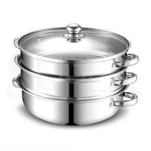 3 Tier Stainless Steel Steamer Meat Vegetable Cooking Steam Pot Kitchen Tool NEW