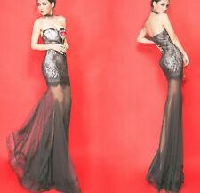 magnifique robe bustier de soirée gala cocktail noire dentelle t36