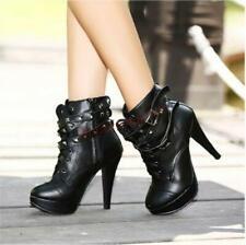 Womens Rivet Spike Motorcycle Ankle Boots Stilettos Punk High Heel Biker Shoes