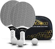 Senston Professional Ping Pong Paddles Set 2 Table Tennis Balls Storage Bag Grey