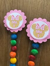 Gold Minnie Mouse Personalised Lolly Tubes~ Pink & Gold ~ Minnie Birthday Party