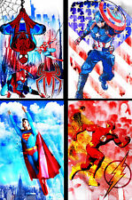 Spiderman Captain America Superman and The Flash 11 x 17 (4) lot Quality Posters