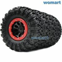 4pc RC 2.2 Tires 130mm & 2.2 Beadlock Wheels Rims Fit 1/10 RC 4WD Axial Crawler