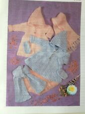 Knitting Pattern For Babys Hooded  Coat Scarf & Mitts 16-24inch DK See Details