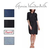NEW WOMENS GLORIA VANDERBILT ASHLEIGH DENIM DRESS ROLL TAB SLEEVE VARIETY- A44