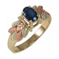 10K Black Hills Gold Ladies Ring with Sapphire Size 4 - 11