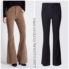 BNWT Marks and Spencer Corduroy Flared Hem Trousers 0446 Navy-Camel Rrp £35