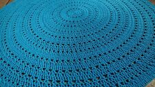 "Handmade-to-order Crochet  Aqua Blue Cotton Round Rug 90cm (35"") 33 Yarn Colour"