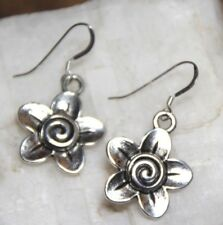 Flower Earrings Spring Petals Spiral 925 sterling silver hooks pewter charms