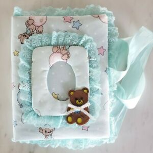 Handmade Baby Photo Album Light Blue w/ Ribbon Closure Teddy Bear Pattern
