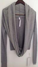 LULULEMON Iconic Wrap Sweater Heathered Medium Light Grey/Grey Stripe Sz 4 NWT