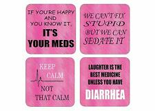 Nurse Drink Coaster Set Rn Nursing Cna Gift Joke Funny Home Kitchen Barware