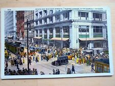 OLD PPC: CHICAGO~STATE AND MADISON STREETS~ANIMATED~OLD TRAMS & CARS