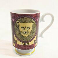 "Vintage Zodiac Leo Lion Mug July 23-August 22 Arnart Red Yellow 4 1/4"" Tall"