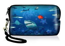 Shark Neoprene Case Bag Pouch For Digital Camera Cell Phone Itouch Iphone 3 4 5