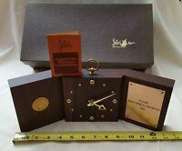 VTG 1983 Josten's walnut desk table clock Original  Mobay Chemical Corporation