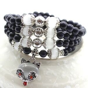 P03 Bracelet Perles En Bleu Grès Et Cristal Opalite Avec Visage de Chat
