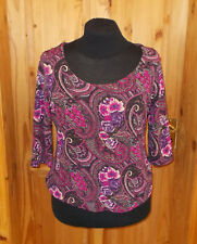 M&S black gold ivory pink purple floral paisley stretch 3/4 sleeve tunic top 16