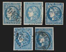 n°46B, Cérès Bordeaux, 20c bleu en 5 nuances du bleu-ciel au bleu-foncé - TB