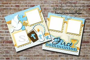 First Communion Boy Blue 2 PRINTED Premade Scrapbook Pages BLJgraves 22