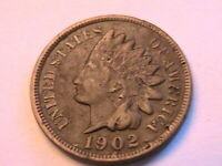 1902 Indian Head Penny Choice VF Original Toning Bronze Small 1 Cent US Coin
