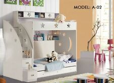 NEW KING SINGLE WHITE BUNK BED+TRUNDLE+STAIRCASE +DRAWERS Childrens Bedroom