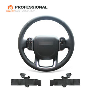 Black Genuine Leather Steering Wheel Cover Wrap for Land Rover Range Rover 2014