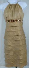 ADRIANNA PAPELL Dress SZ 4 Gold Spaghetti Strap Tiered Rhinestone Crystal Beads