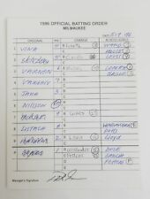 Game Used Milwaukee Brewers 1996 Official Batting Order Signed By Phil Garner
