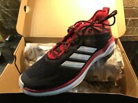 ADIDAS MEN'S BASEBALL SPEED TRAINER 4 SHOES Size 10.5 NIB CG5137 Black White Red