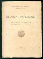 STANISLAO CANNIZZARO SCRITTI VARI E LETTERE INEDITE NEL CENTENARIO NASCITA 1926