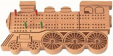 NEW DELUXE GAME Cherry Wooden TRAIN ENGINE CRIBBAGE BOARD with pegs How-To-Play