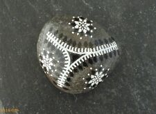 Hand Painted Alchemy Stone with Black & White Geometric Vines Design