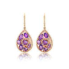 Amatista 4,60 ct Pendientes Diamantes Oro Amarillo 585 Brillantes 0,85 Quilates