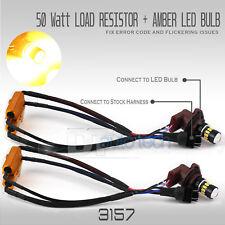 Error Free 3157 High Power LED Amber Yellow Turn Signal Light Bulbs+Resistors