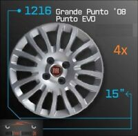 4x italienische Radkappen satz set 15 Zoll Felgen Fiat Grande Punto Evo 08 Rot