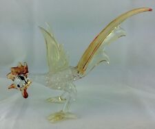 """Vintage Murano Art Glass Rooster Orange, Red, Yellow, and Clear 8"""" long"""