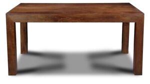 DINING TABLE, FURNITURE DARK DAKOTA SOLID MANGO WOOD 160cm X 90cm X 76cm High