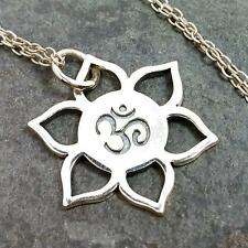 Lotus Flower Om Necklace - 925 Sterling Silver - Namaste Ohm Yoga Charm OM1 NEW