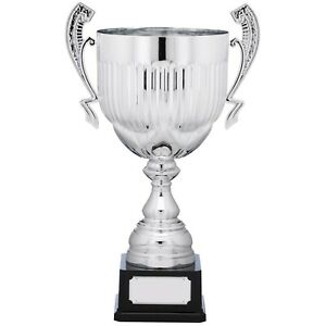 Silver Vertical Lined Presentation Cup Handle Trophy FREE Engraving sailing gym